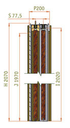 1100 + 1100 mm - Stavební pouzdro JAP UNIBOX, výška průchodu 2100 mm - 2