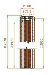 2250 mm - Stavební pouzdro JAP PARALLEL, atypická výška průchodu 2200 - 2700 mm - napište do poznámky - 2